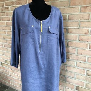 EUC ELLEN TRACY LINEN SHIRT